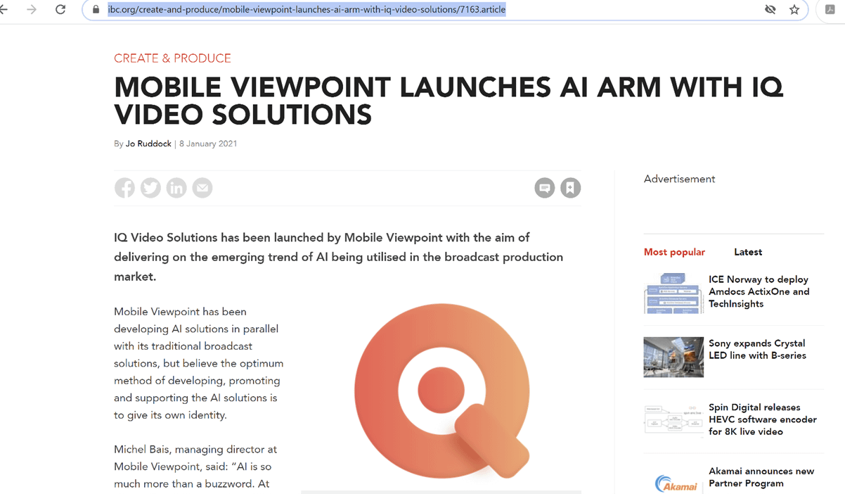 IBC Daily; Mobile Viewpoint launches AI arm with IQ Video Solutions